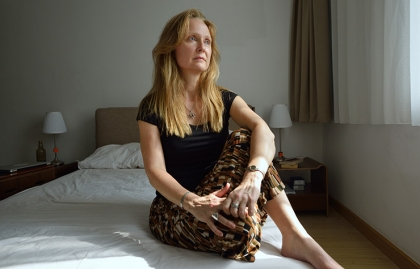 Sarah Bajc photographed at her home in Beijing.  She lost her partner, Philip Wood on Malaysia Airlines flight 370.