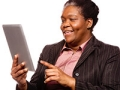 Mature woman black office worker learning digital tablet, Virtual Career Fair