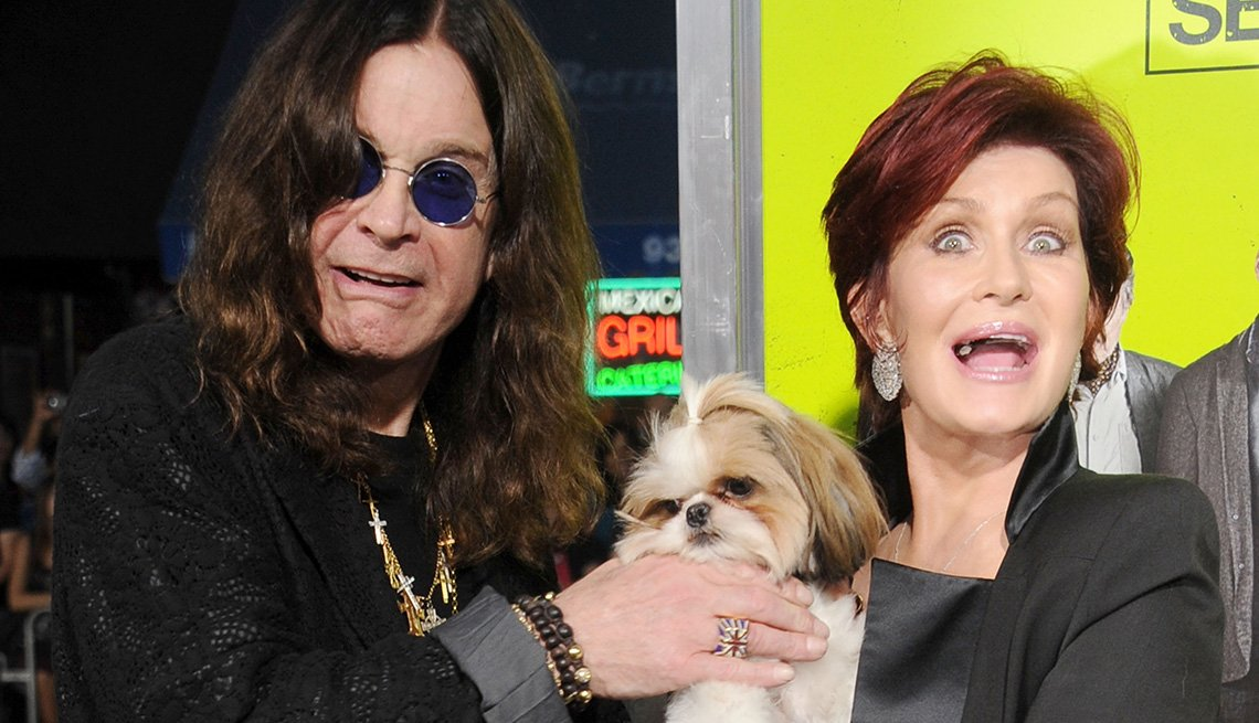 Ozzie Osbourne And His Wife Sharon With Their Dog On The Red Carpet, AARP Home And Family, Get A Dog After 50