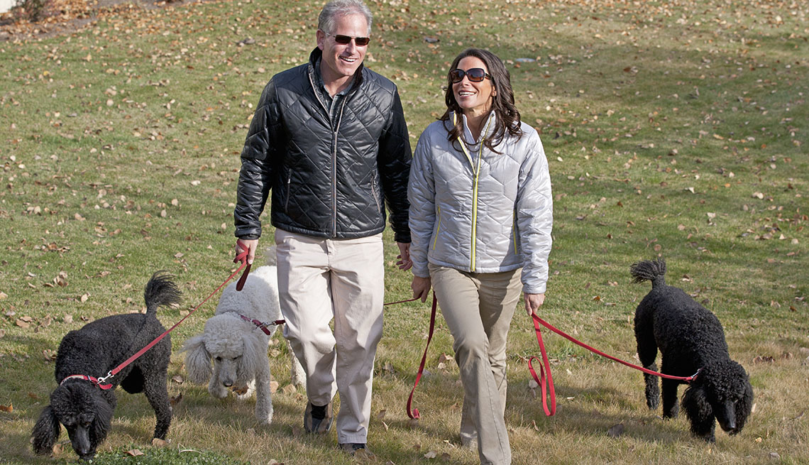 Couple Walk Their Dogs In The Park, AARP Home And Family, Get A Dog After 50