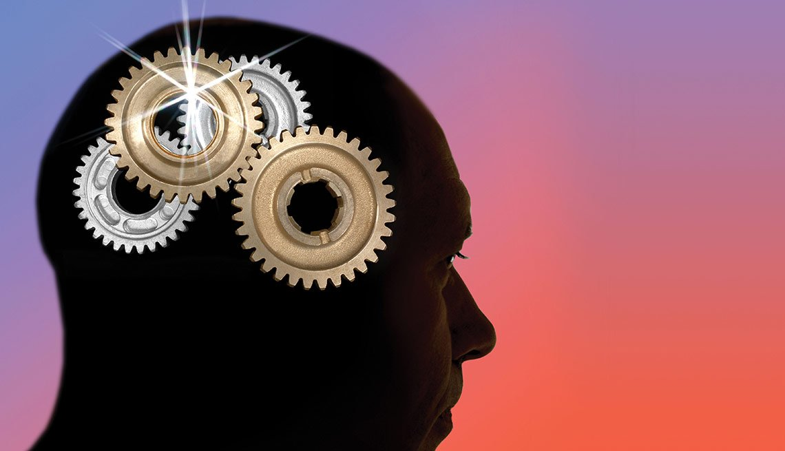Brain health - Illustration of gears in man's head