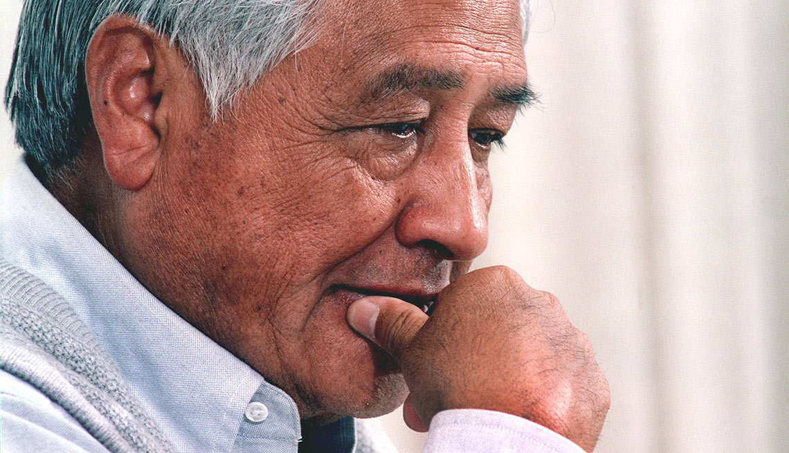 César Chávez, co-founder of United Farm Workers, Mexican American labor leader