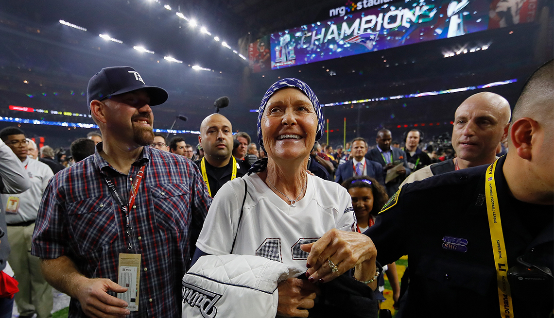 Tom Brady's mother Galynn is all smiles after her son led the Patriot's to Super Bowl victory
