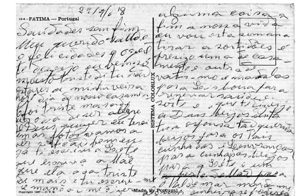 Texto escrito en el reverso de una postal del Santuario de Nuestra Señora de Fátima