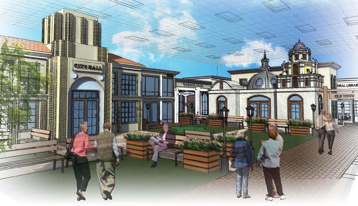 A '50s-era town square will provide reminiscence therapy