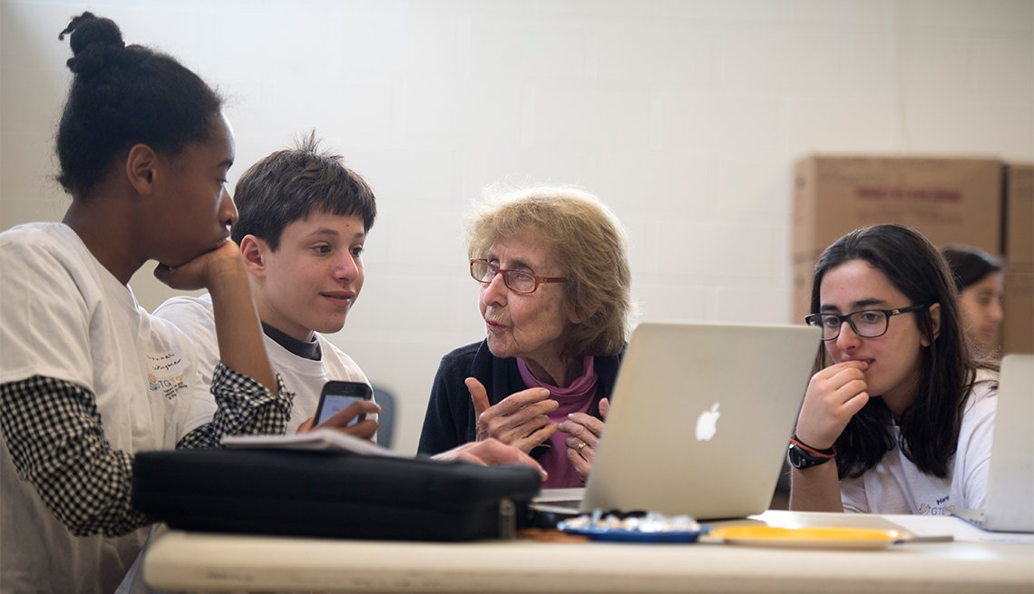 Area youth group training seniors on latest tools