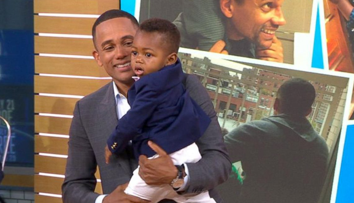 Hill Harper with son Pierce on 'Good Morning America'