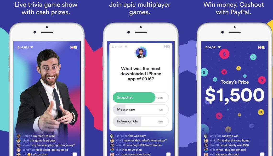 Screenshots of the H Q Trivia App