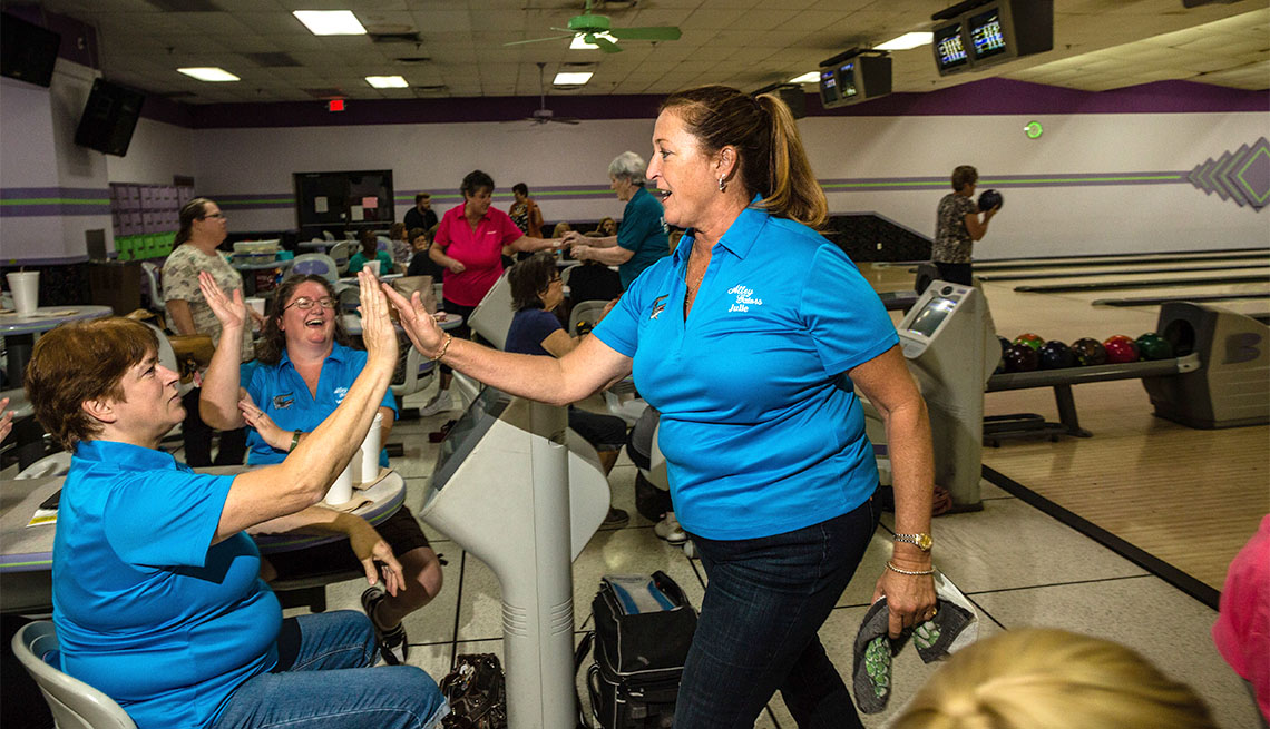 item 8 of Gallery image - Julie Harter at bowling night with her league teammate