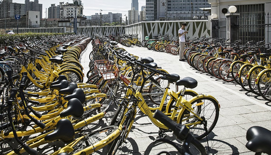 E-bikes in a row