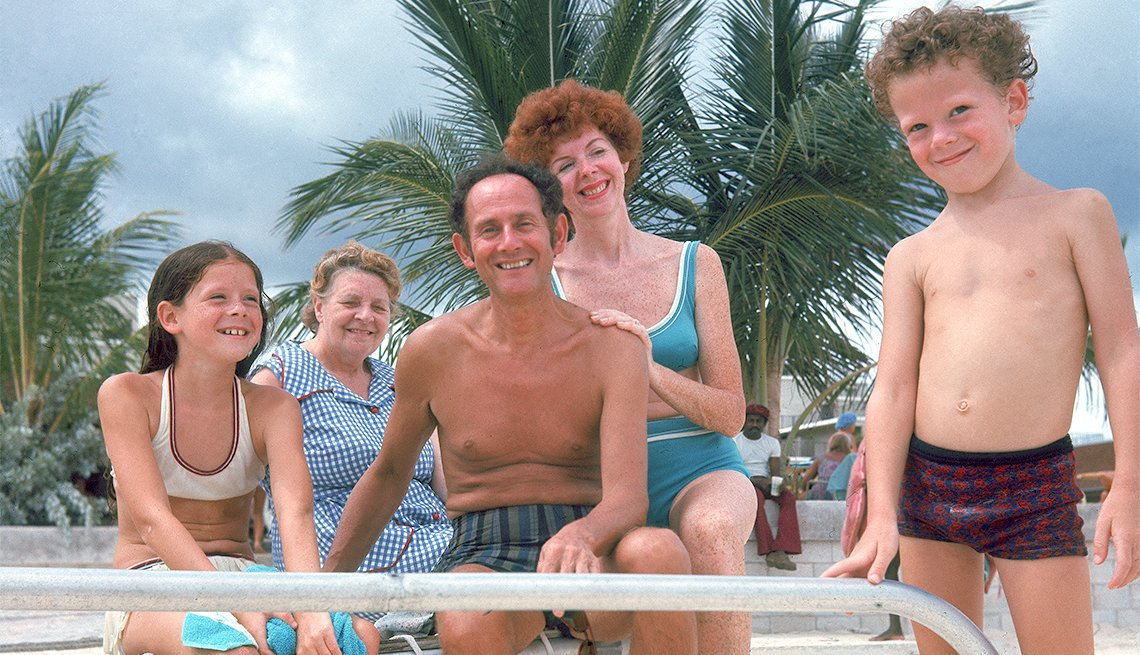 Family at beach in 1972