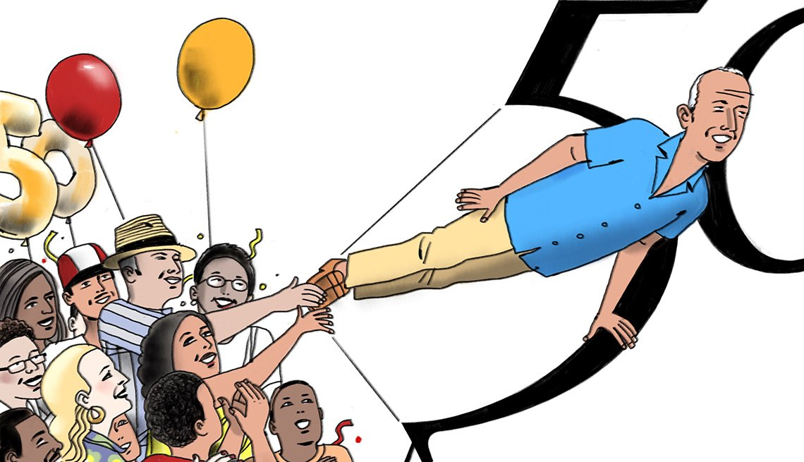 Illustration of people celebrating a 50th birthday
