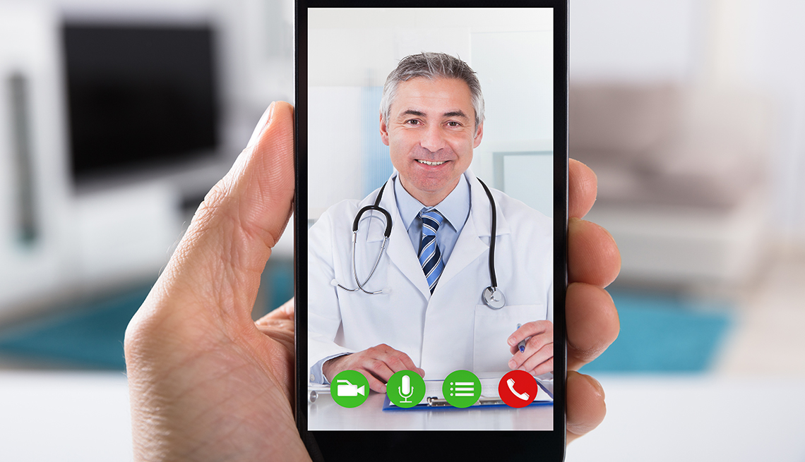 video conference with doctor on smart phone