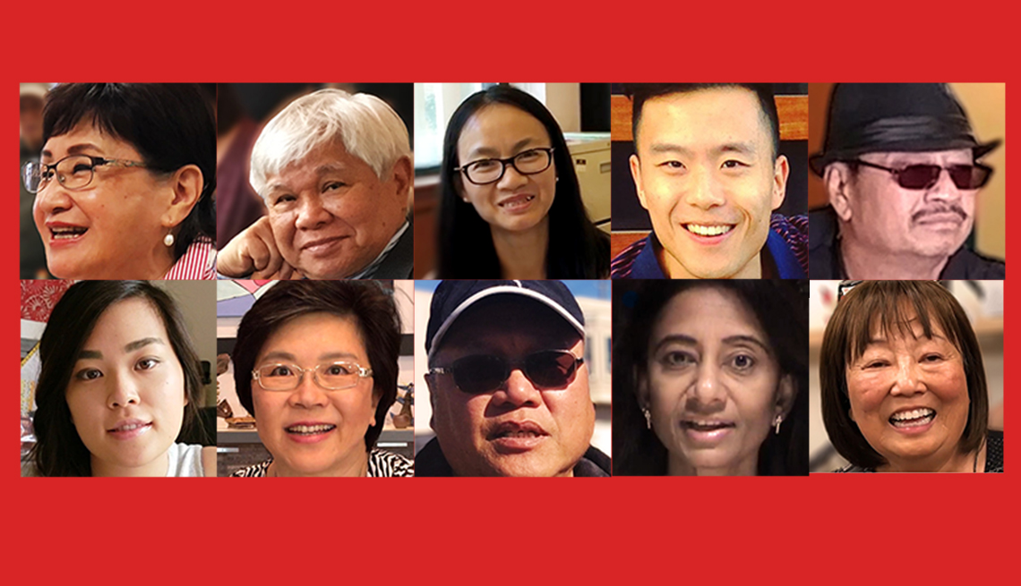 Headshots of the ten AAPI finalists on a red background.