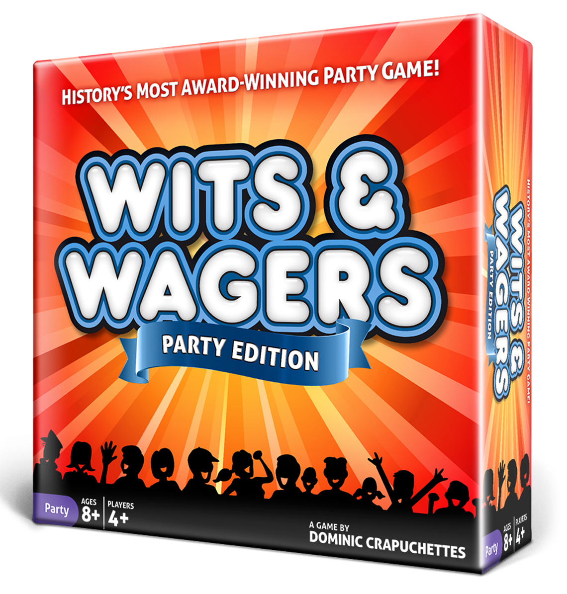 "Wits and Wager game box with text that also reads ""History's Most Award-Winning Party Game!"" ""Party Edition"""