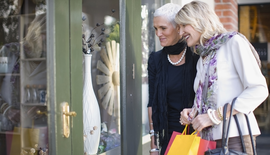 two older women shopping together