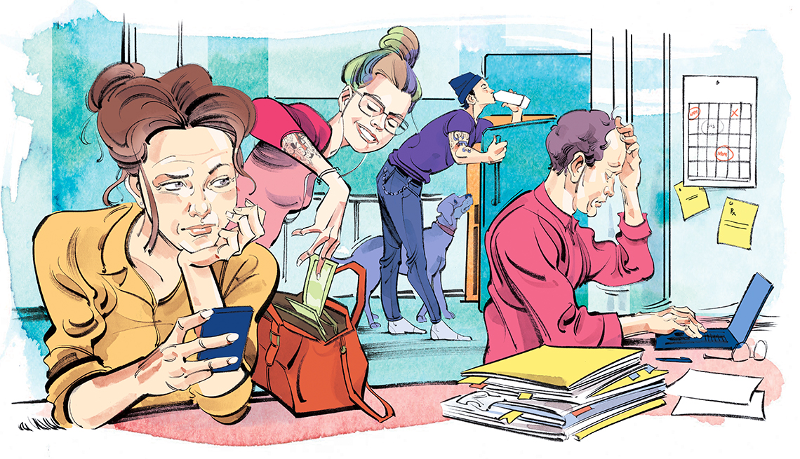 illustration of busy older adults