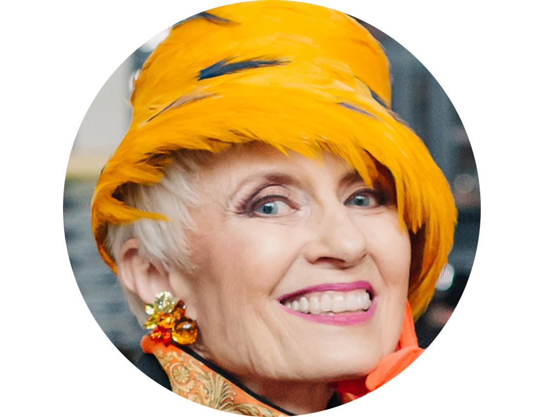 Judith Boyd wearing a hat