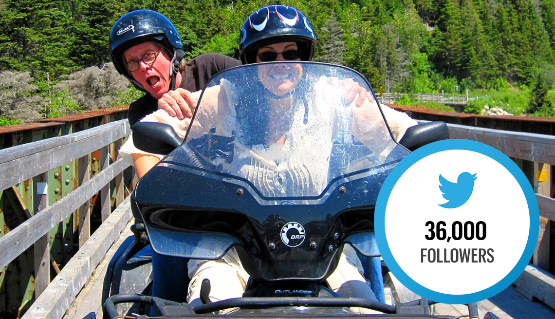 David and Veronica James riding a motorized vehicle