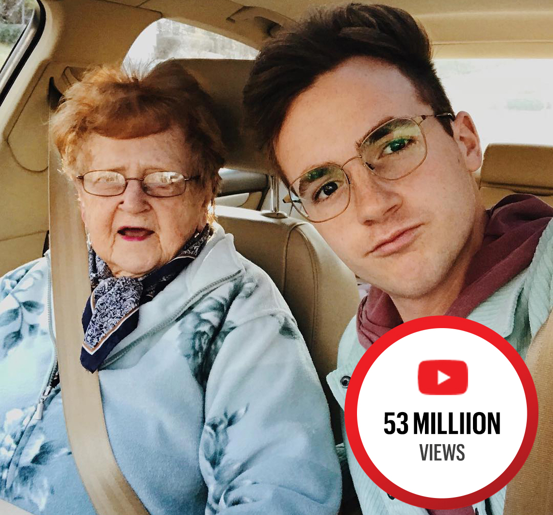 Lillian and Kevin Droniak sitting in a car