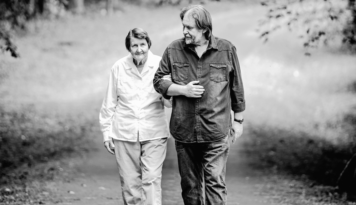 Rick Bragg walking with his mother, Margaret