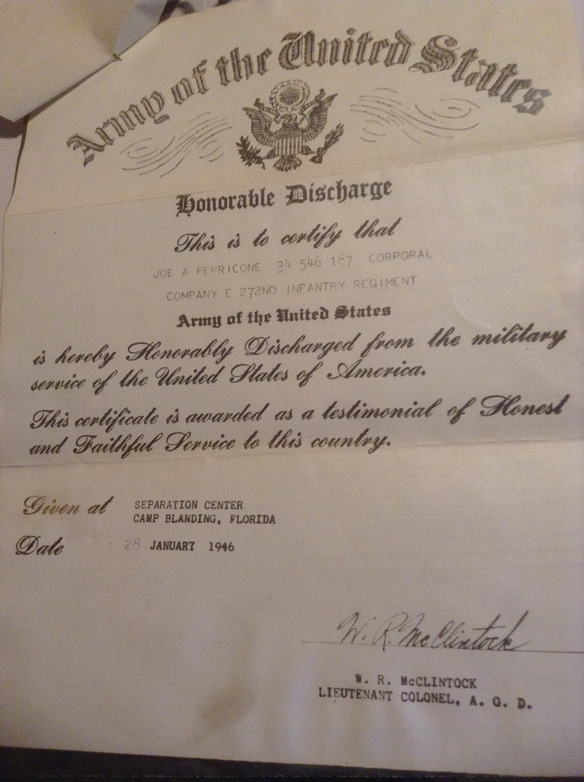 Joe Perricone and Army Honorable Discharge