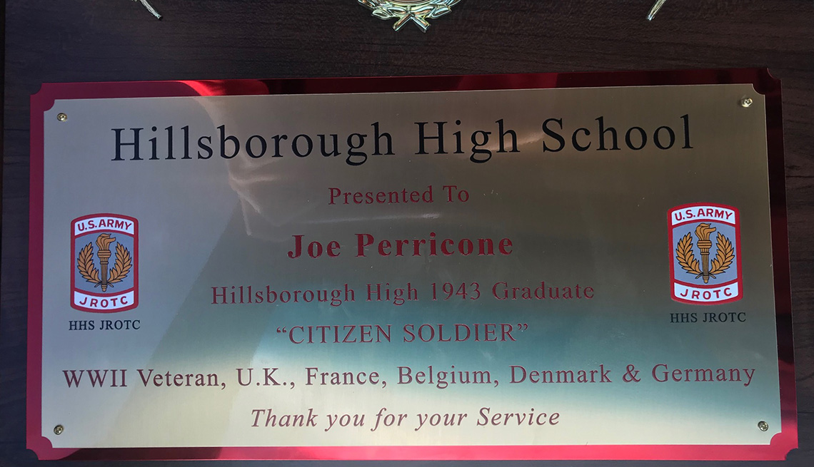 item 7, Gallery image. A closeup of the plaque given to Joe Perricone Hillborough High School's Junior ROTC battalion.