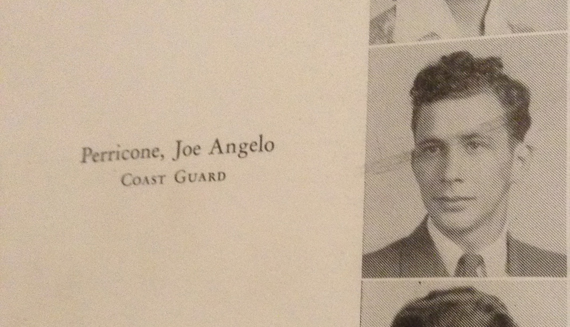 item 1, Gallery image. A 1943 Hillsborough High School yearbook photo of Joe Perricone. The yearbook says he was in the Coast Guard, but he actually served in the Army.