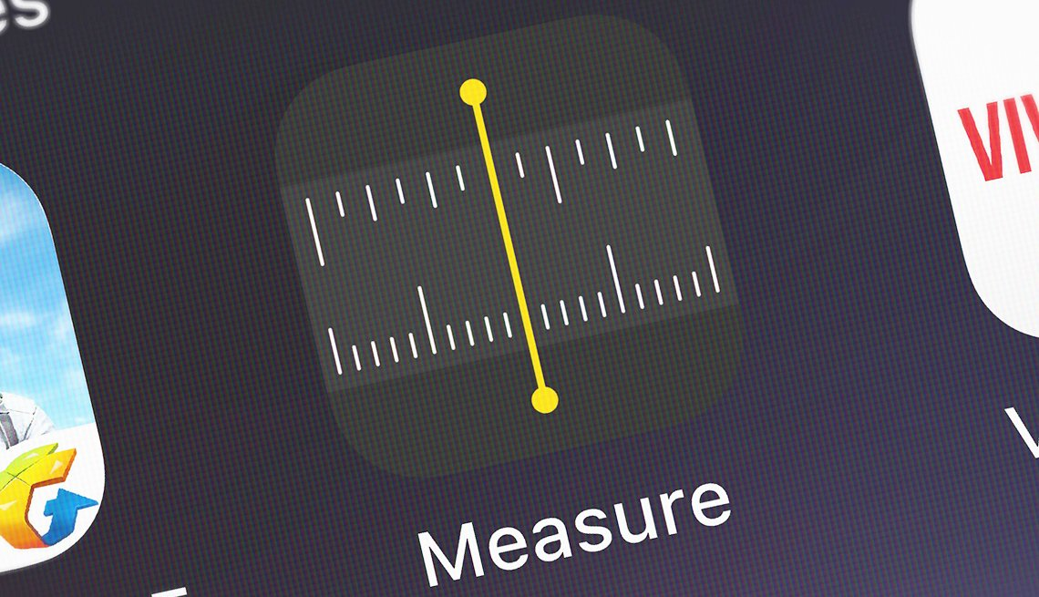 """Screenshot of the mobile app """"Measure"""" from Apple on an iPhone"""