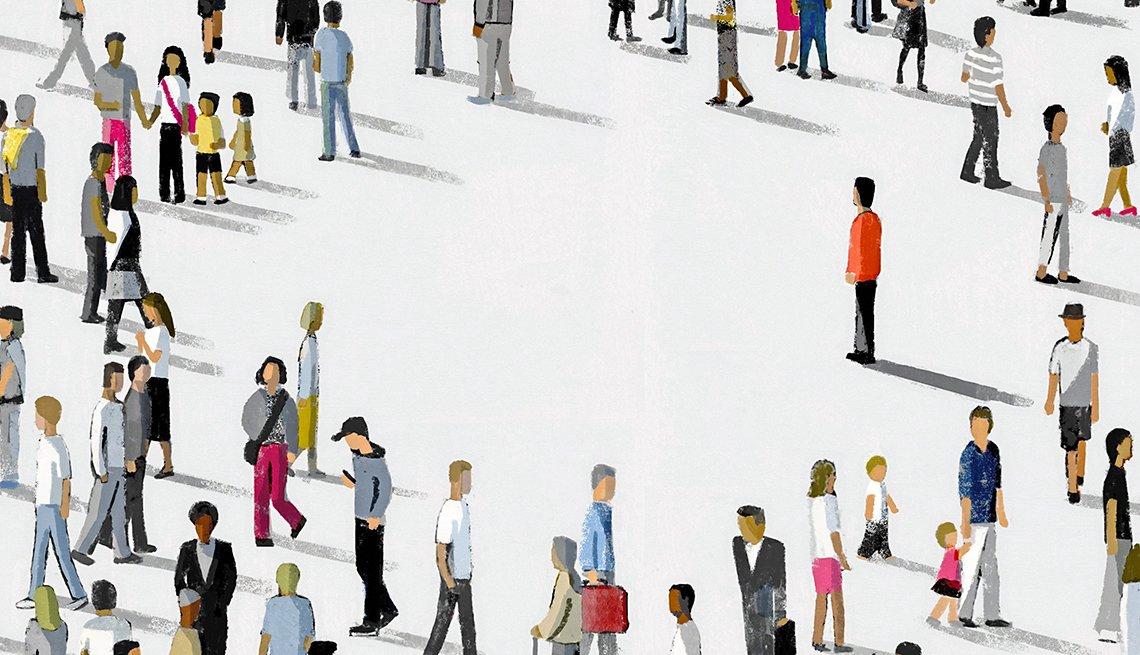 Ilustración de una multitud de personas en círculo con una sola persona en el centro
