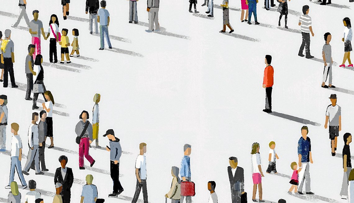 Illustration concept of loneliness in a crowd