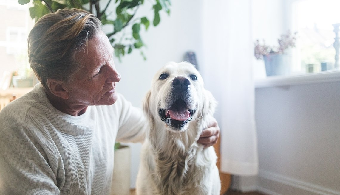 Man looks lovingly at his pet dog
