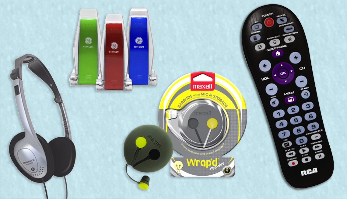 An collage of gadgets you can find at the Dollar tree - Headphones, book light, universal remote control, headphones