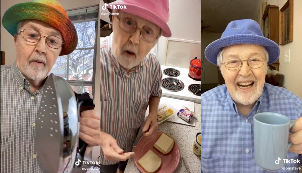 three screenshots from social media platform tik tok of trending user old man steve