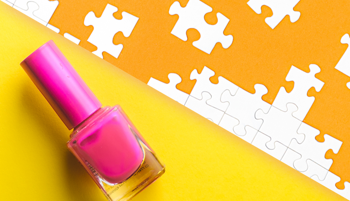 An illustration of nail polish and puzzle pieces