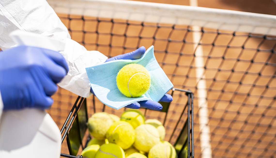 Disinfecting tennis balls