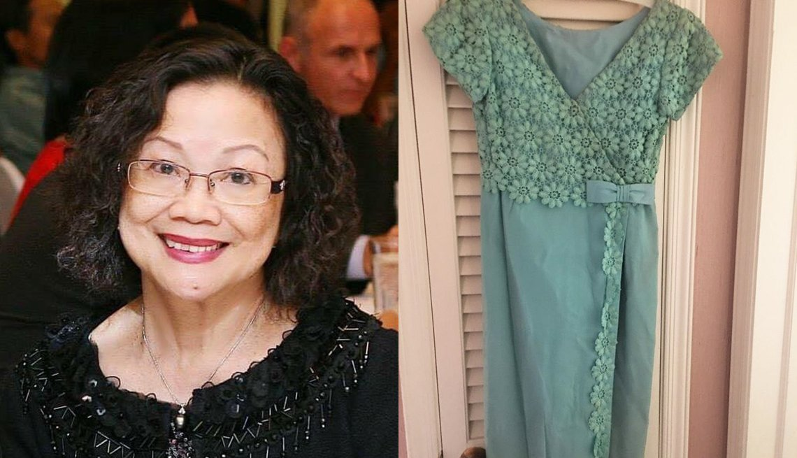 Frances Jean, who lives on New York's Long Island, found the green bridesmaid's dress she had worn to friends' weddings in the 1970s while decluttering.