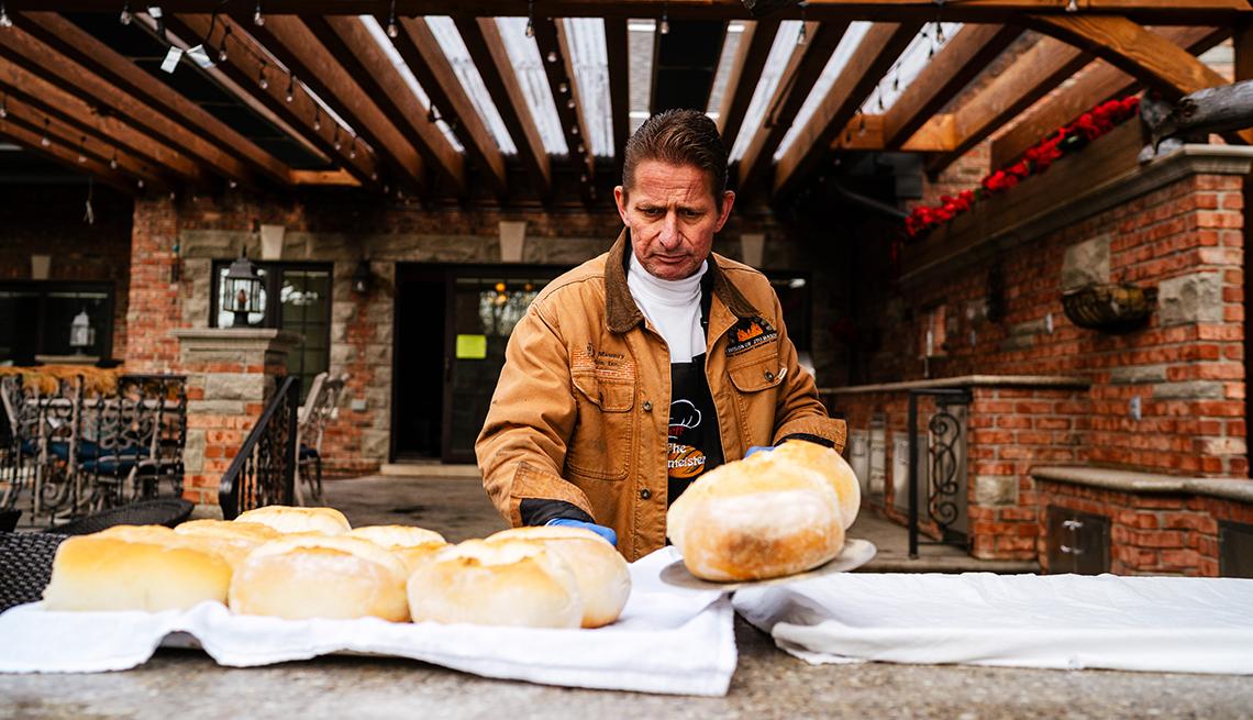 jeff owens is baking bread in his backyard