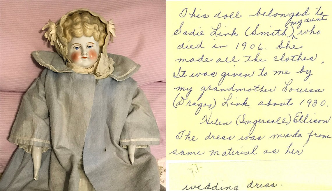Kim Harrison of Sun City, Arizona, knew she had written down the history of this antique porcelain doll but nearly lost it.