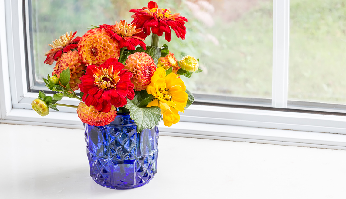 Home style bouquet with garden flowers.