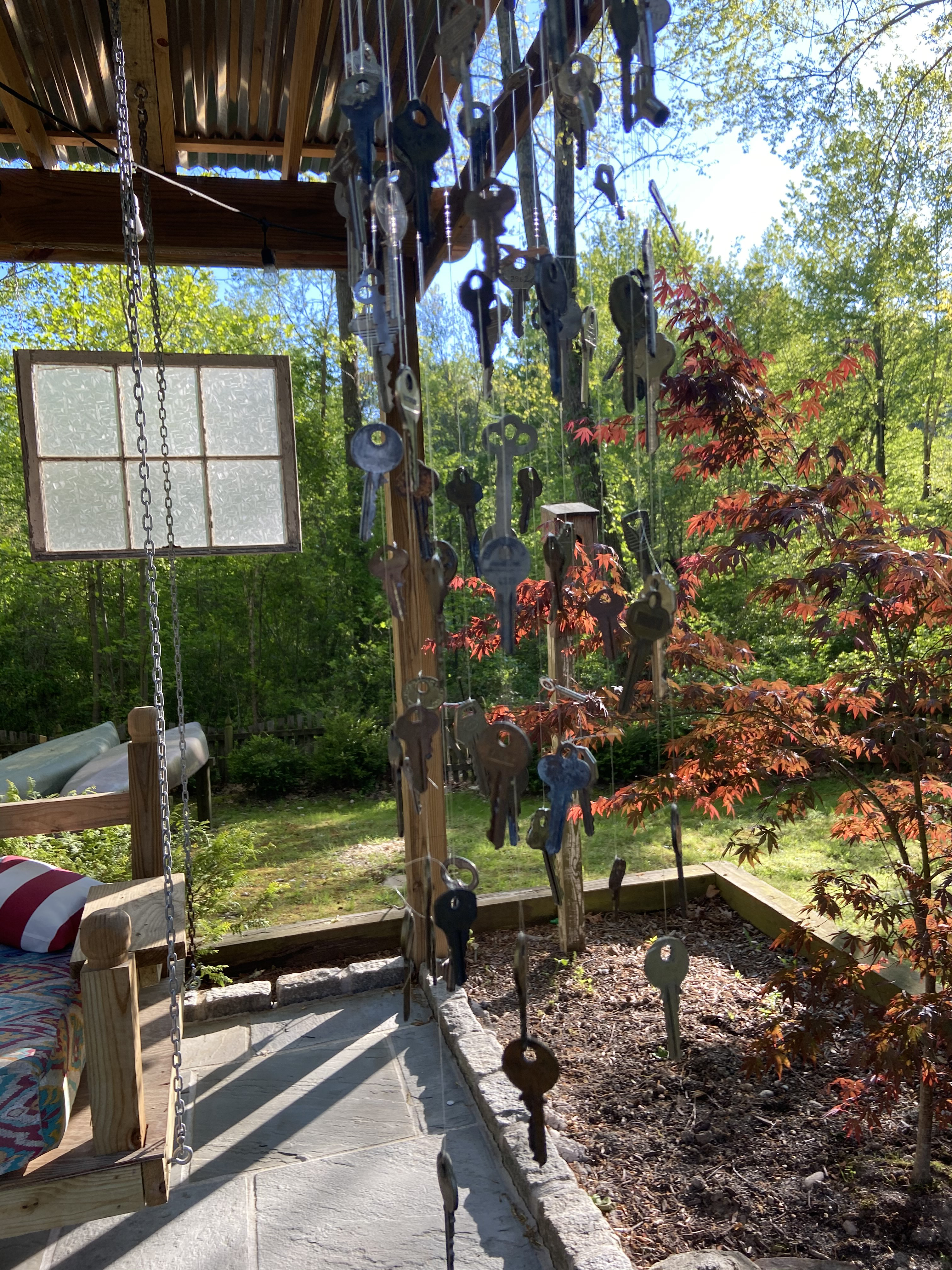Nicole Lambert used four or five dozen keys her grandfather had collected to make wind chimes.