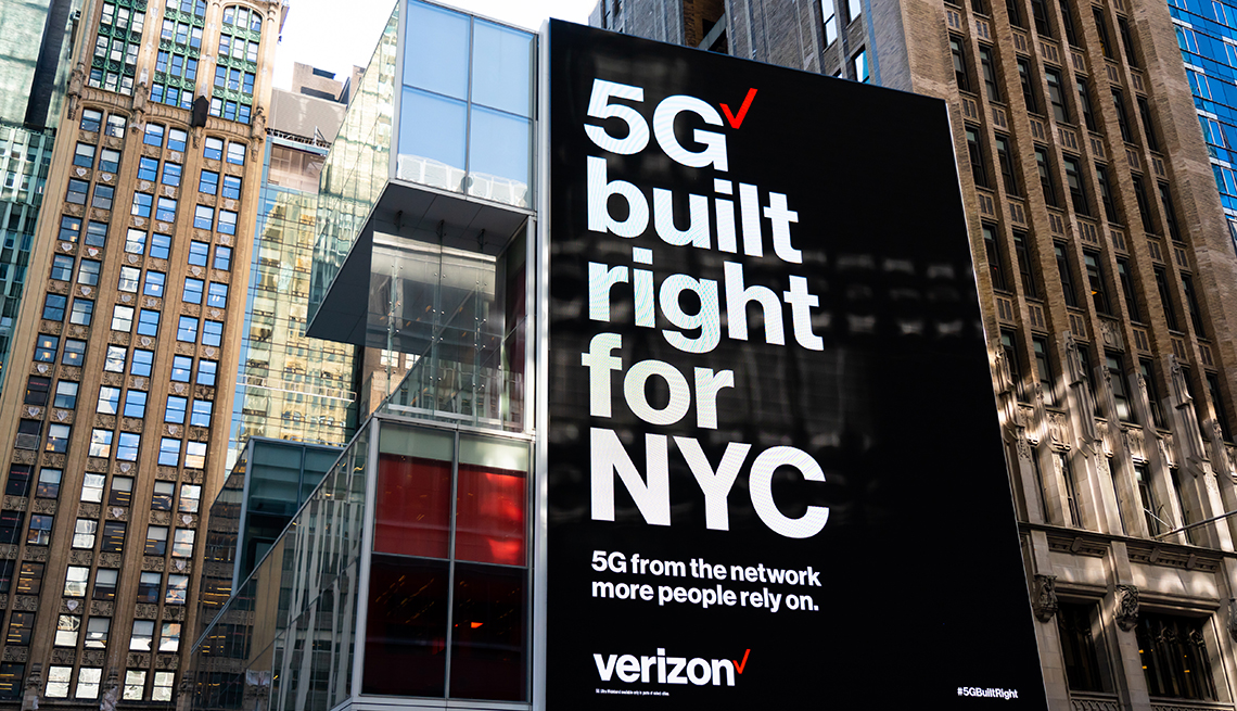 """Verizon """"5G built right for NYC"""" advertisement seen outside one of their stores in Midtown Manhattan"""