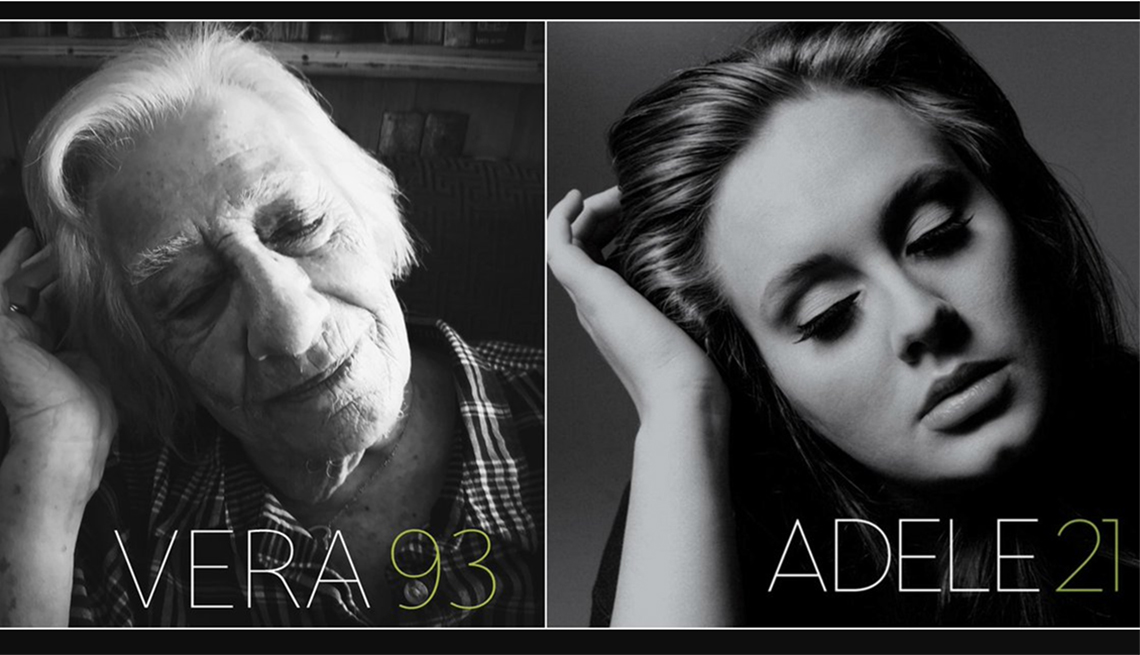 A double-sided image of Vera, 93 and Adele 21