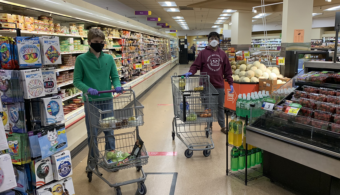 Dhruv and Matthew at the grocery store