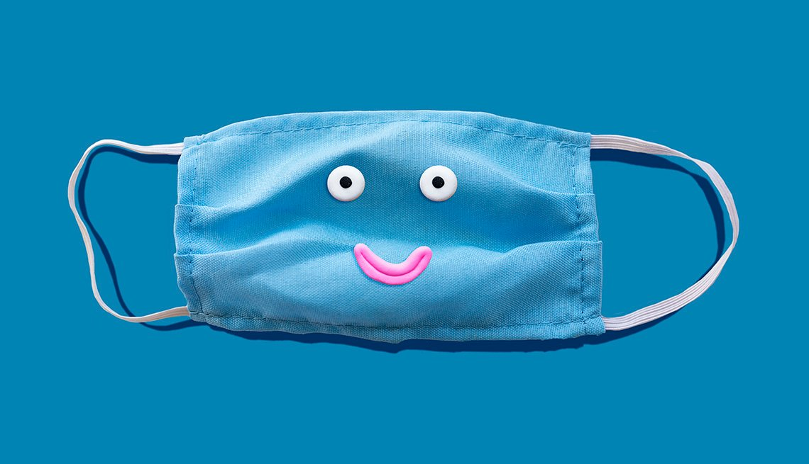 A smiling medical face mask