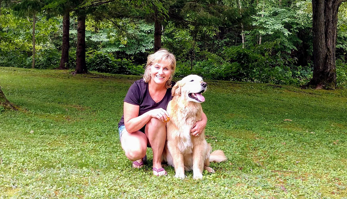 Amy Koepke and her pet dog Teddy