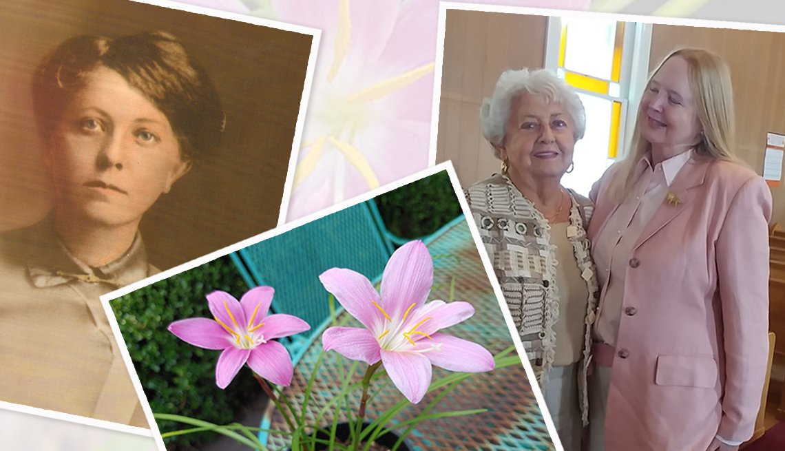 collage of an old sepia tinted photo of a woman, rain lily flowers in a pot, and an older and younger woman posing together in a church