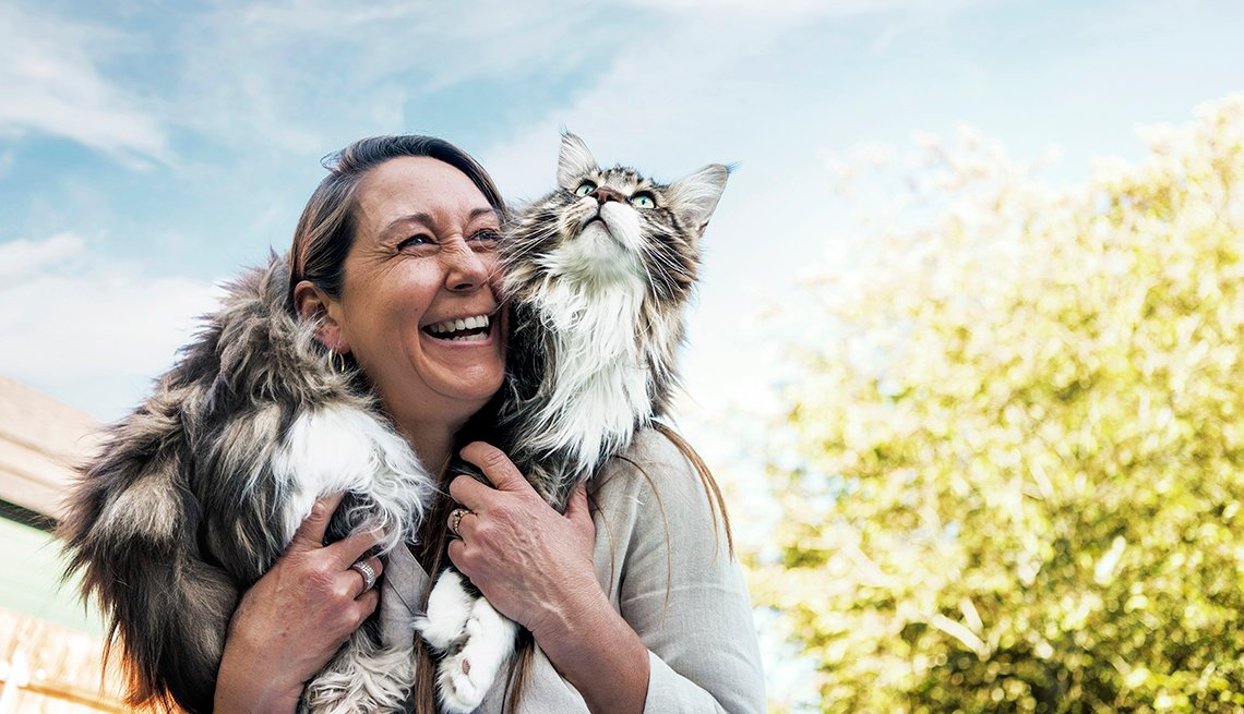 a woman holds her large fluffy cat on her shoulders