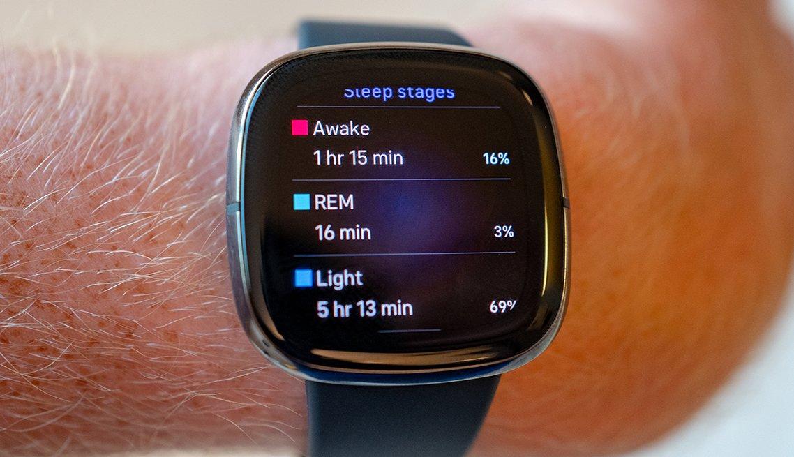 Un reloj inteligente Fitbit Sense que muestra las etapas del sueño