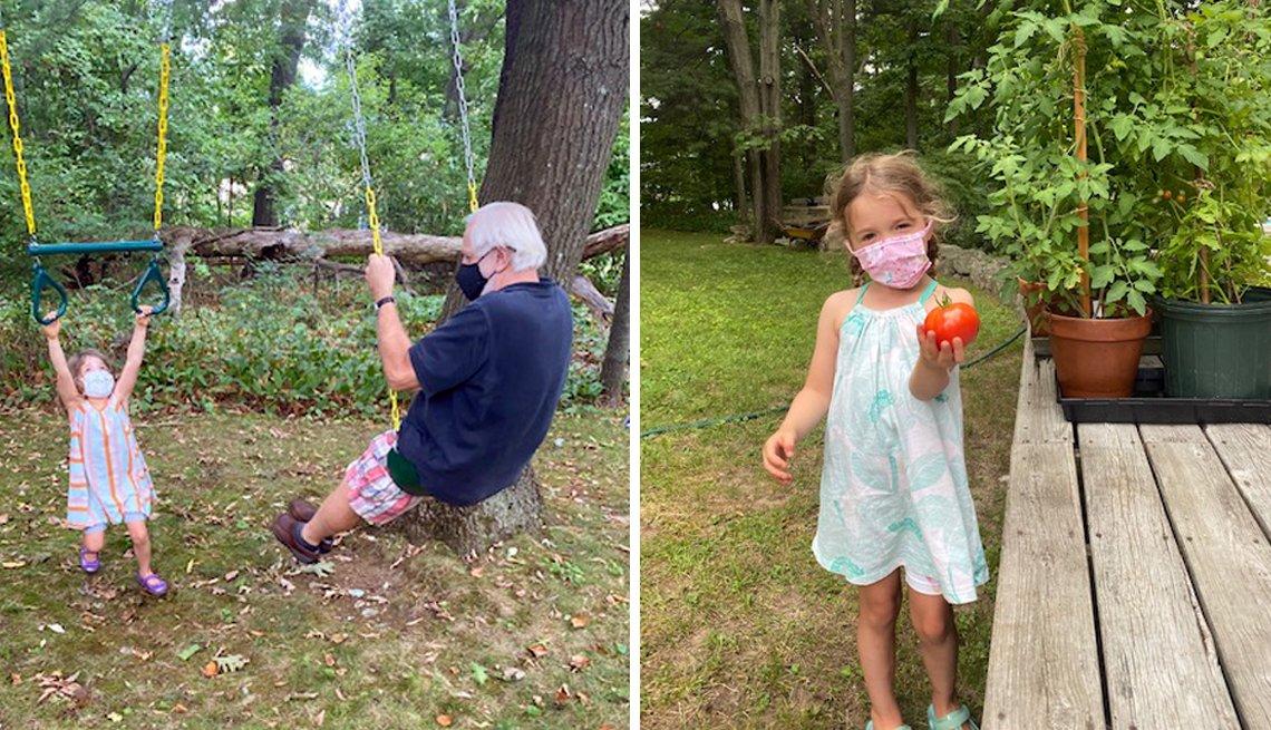 Dos imágenes: John Shemkus en los columpios con su nieta (izquierda) y una nieta sosteniendo una fruta.